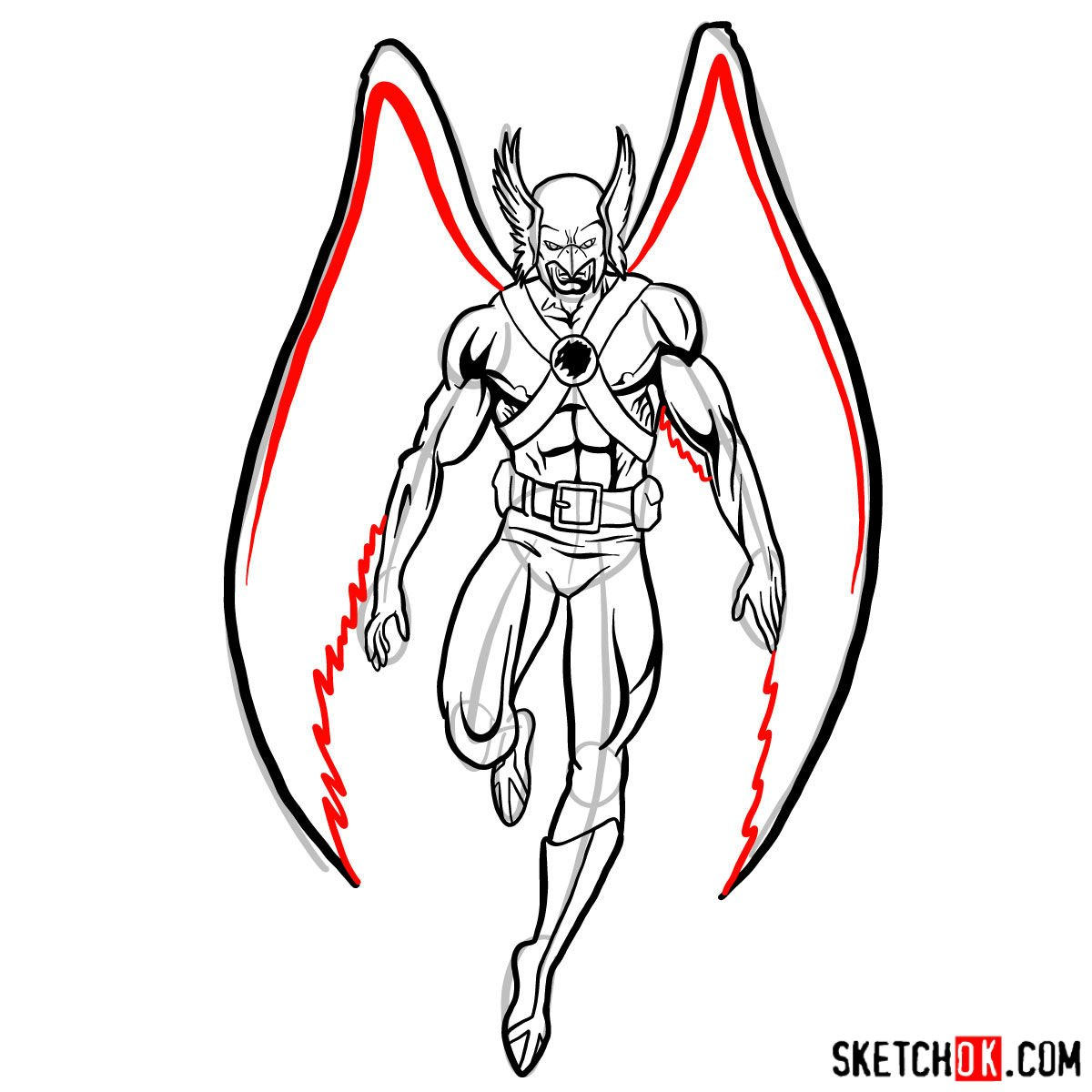 How to draw Hawkman from DC Comics - step 14