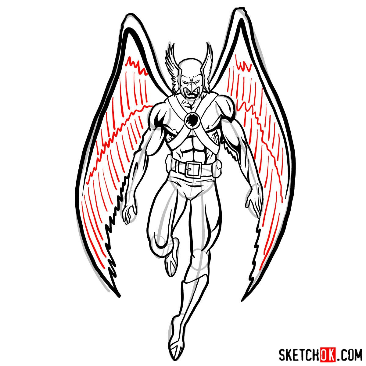 How to draw Hawkman from DC Comics - step 15