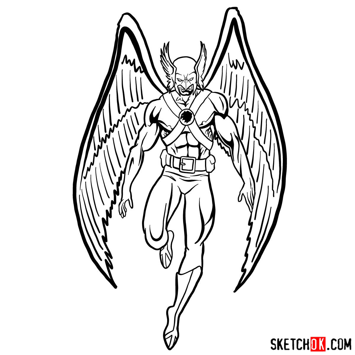 How to draw Hawkman from DC Comics - step 16