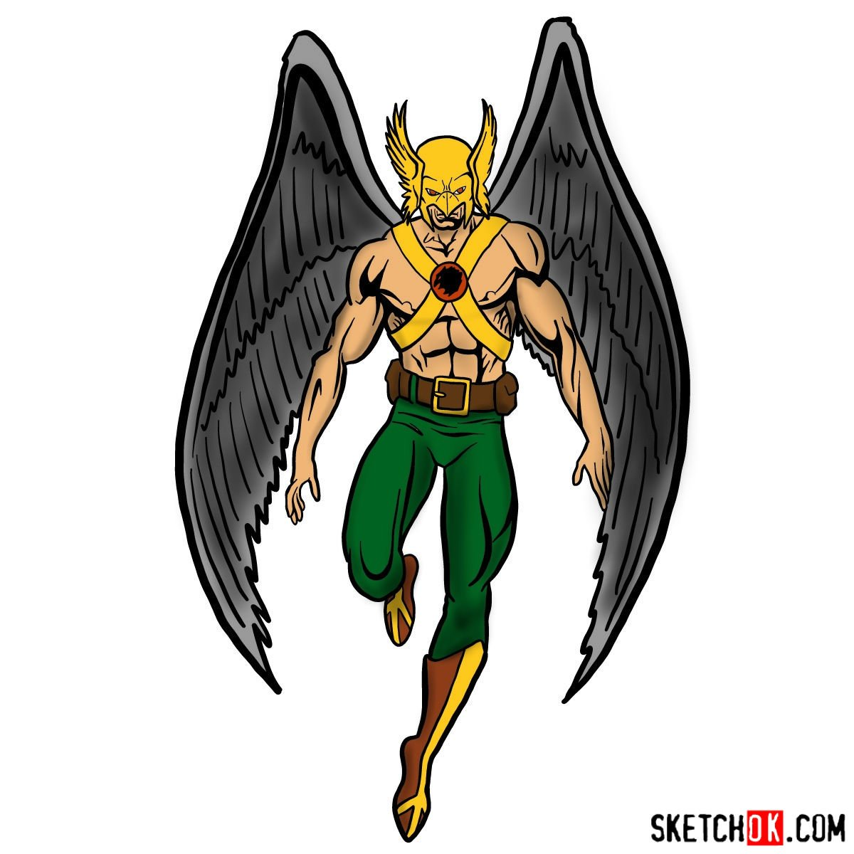 How to draw Hawkman from DC Comics - coloring