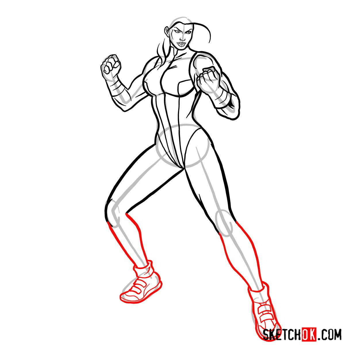 How to draw She-Hulk (Jennifer Walters) from Marvel - step 11