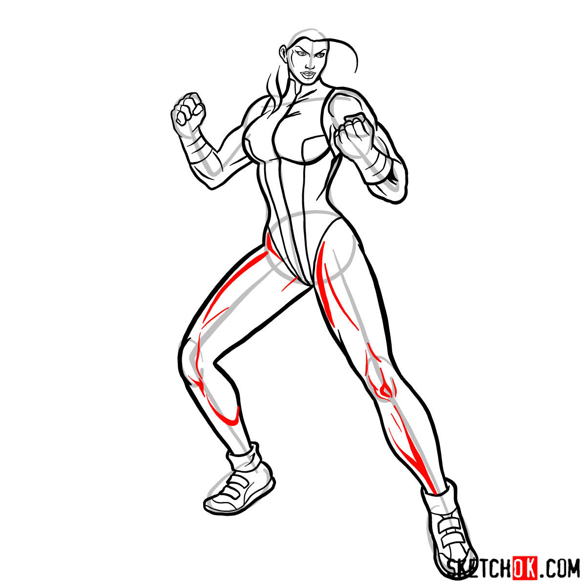How to draw She-Hulk (Jennifer Walters) from Marvel - step 12