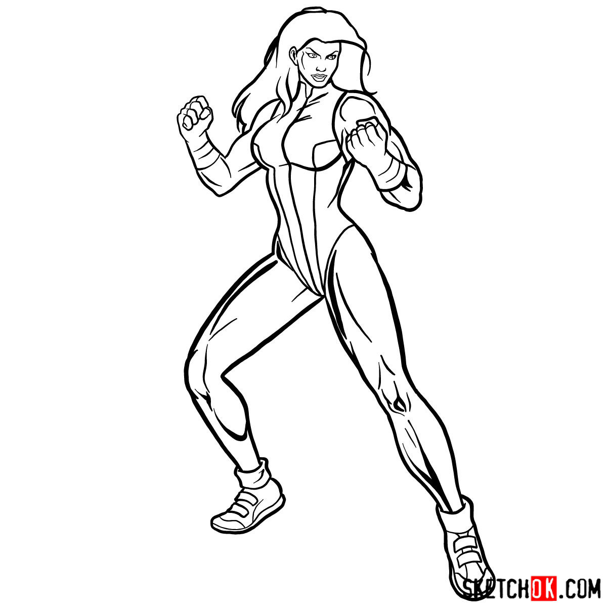 How to draw She-Hulk (Jennifer Walters) from Marvel - step 14