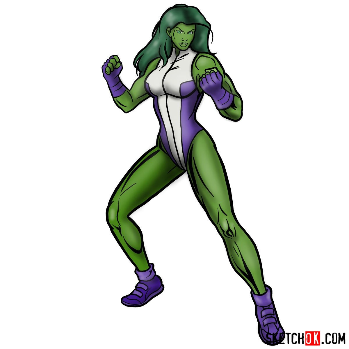 How to draw She-Hulk (Jennifer Walters)
