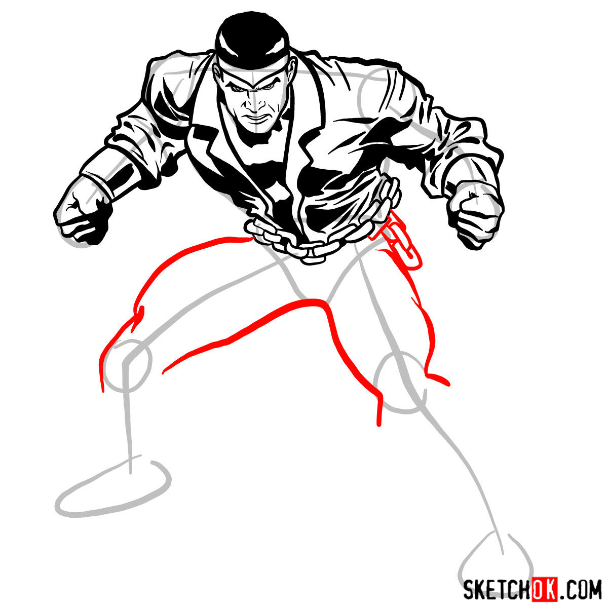 How to draw Luke Cage - step 12