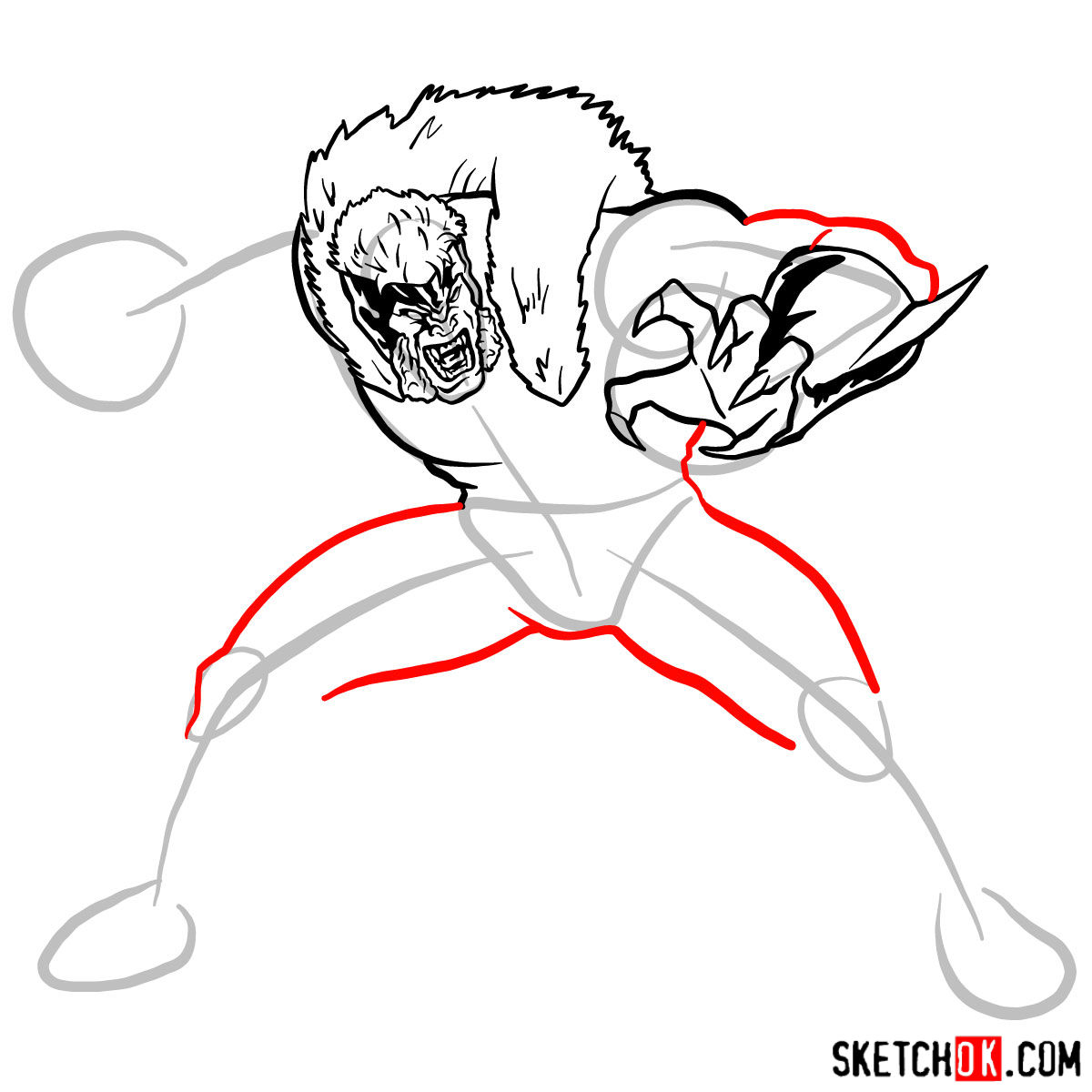How to draw Sabretooth (X-Men mutant) - step 09