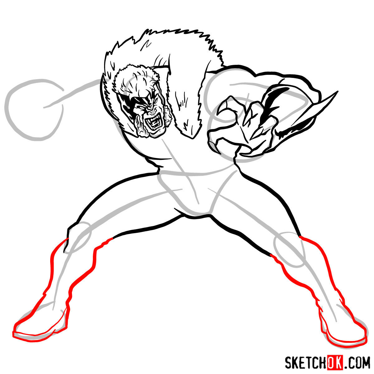 How to draw Sabretooth (X-Men mutant) - step 10
