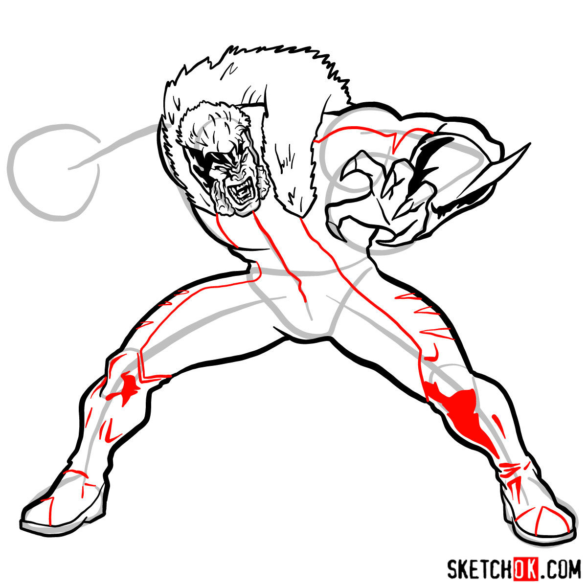 How to draw Sabretooth (X-Men mutant) - step 11