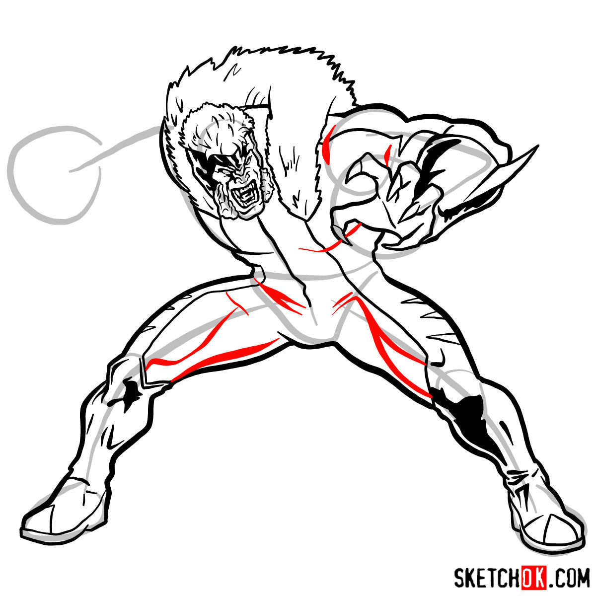 How to draw Sabretooth (X-Men mutant) - step 12
