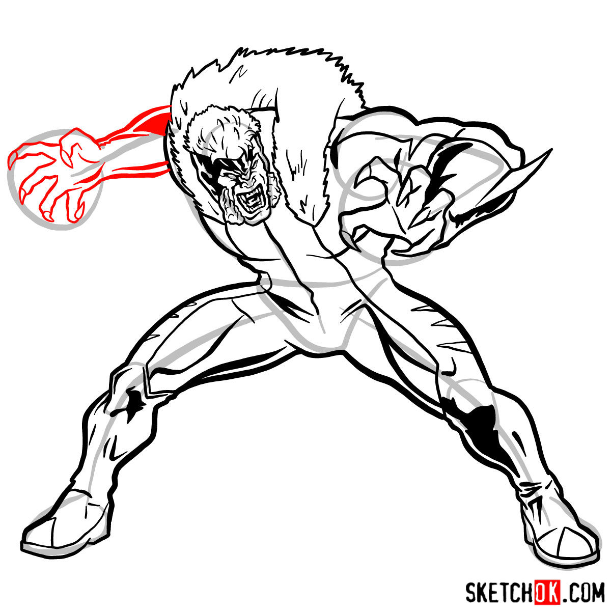 How to draw Sabretooth (X-Men mutant) - step 13