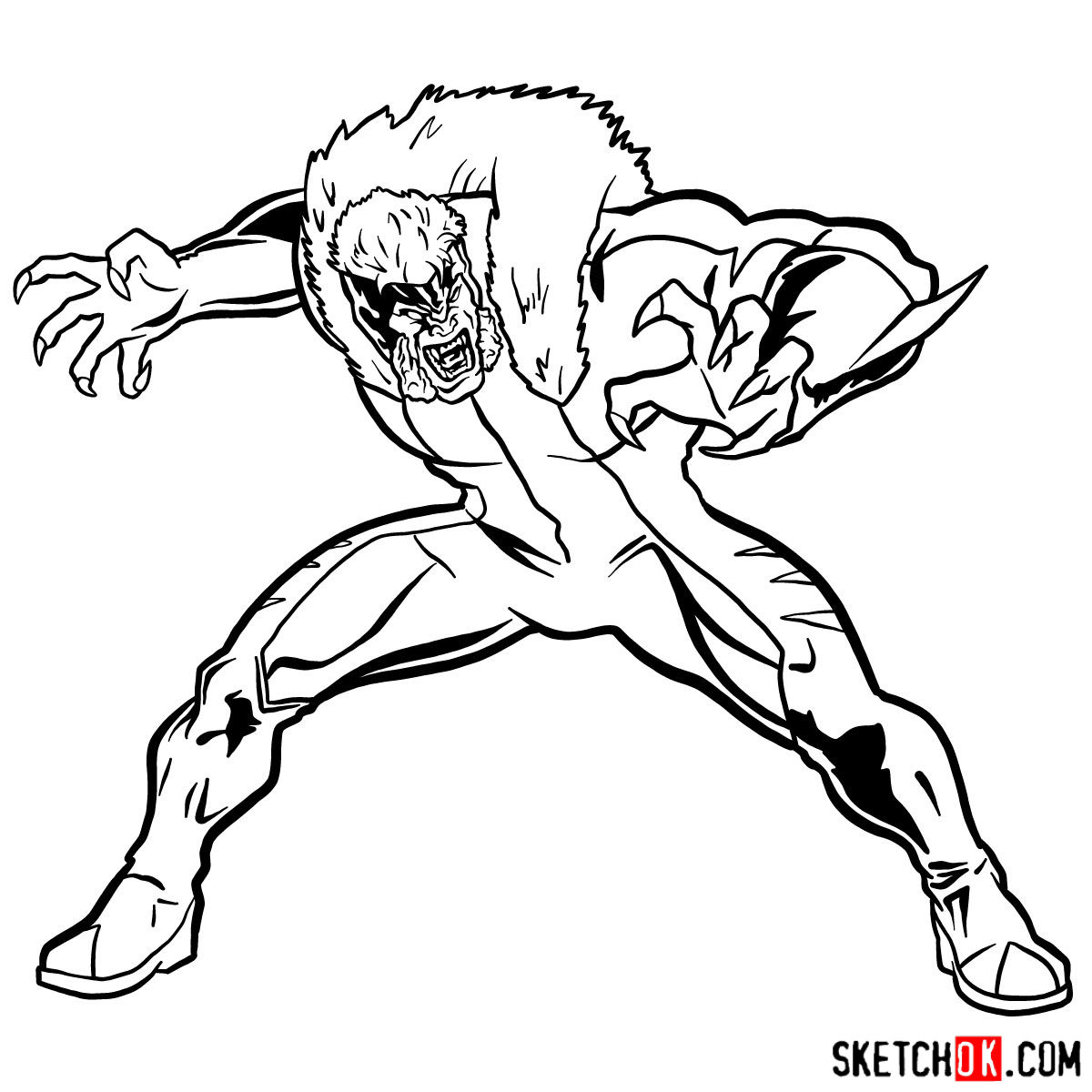 How to draw Sabretooth (X-Men mutant) - step 14