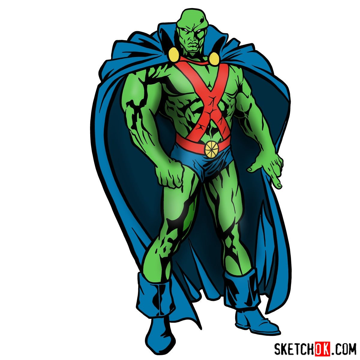 How to draw The Martian Manhunter