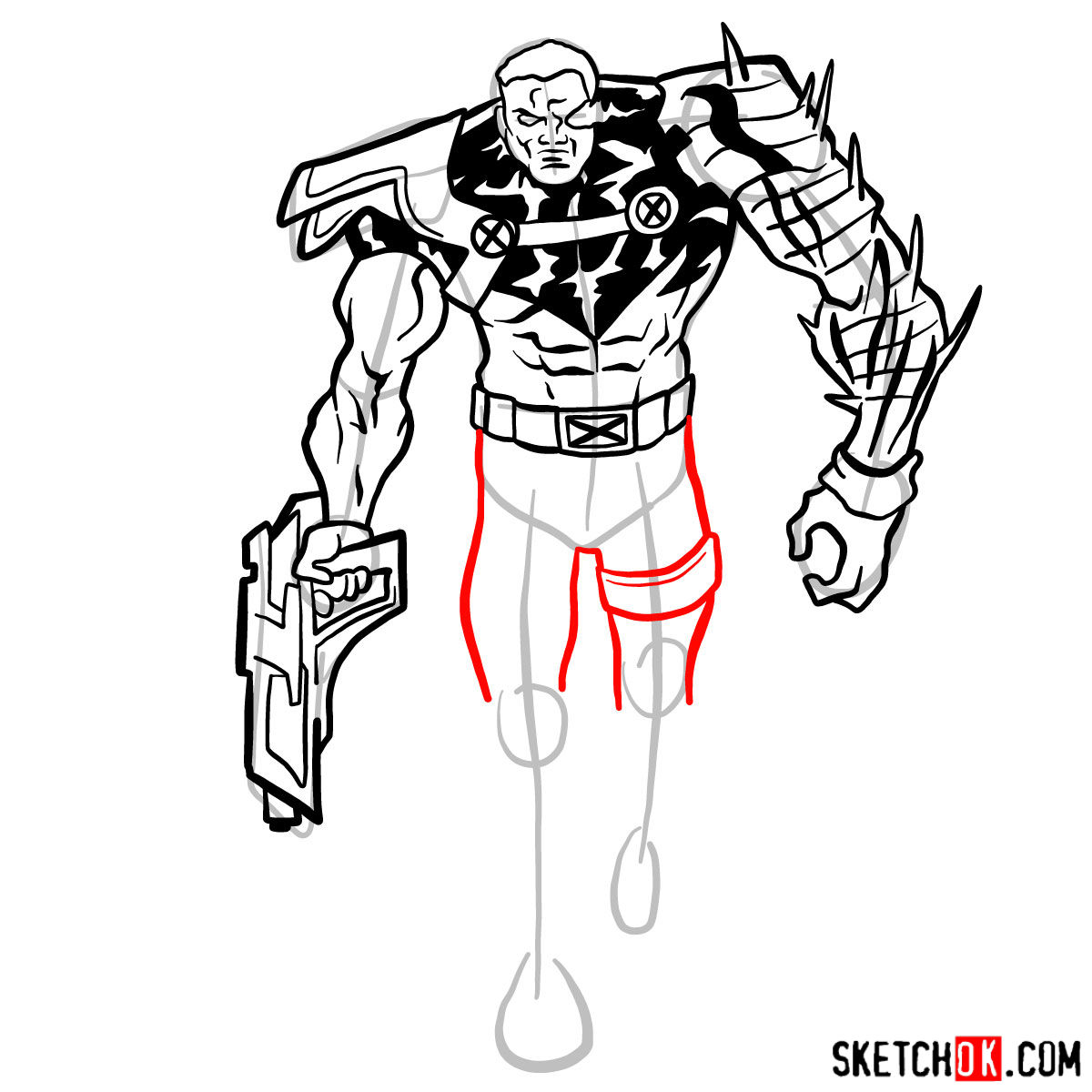 How to draw Cable from Marvel cartoons - step 11