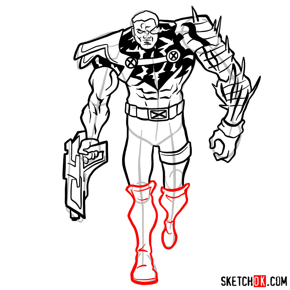How to draw Cable from Marvel cartoons - step 12