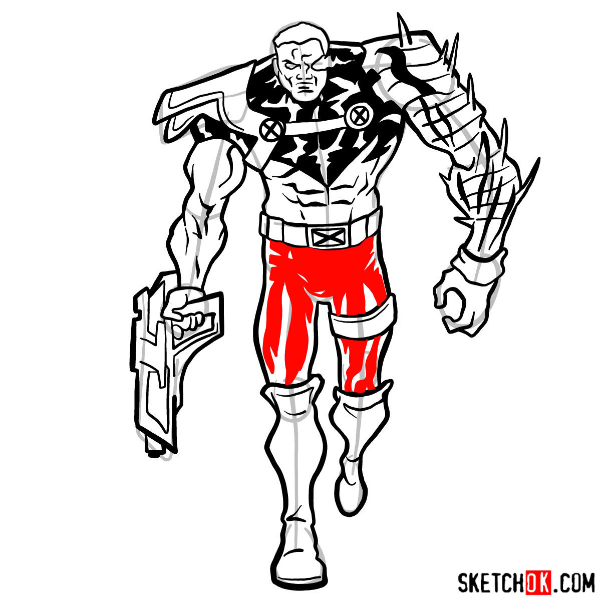 How to draw Cable from Marvel cartoons - step 13