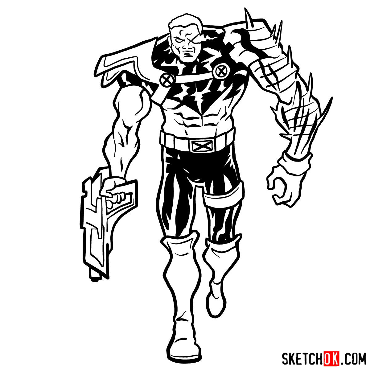 How to draw Cable from Marvel cartoons - step 14