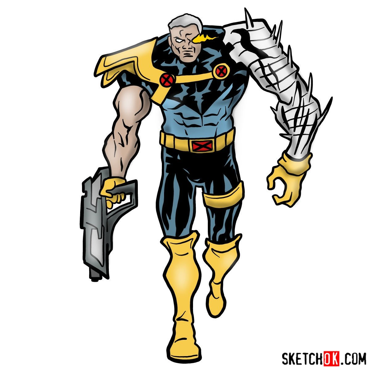 How to draw Cable from Marvel cartoons - coloring