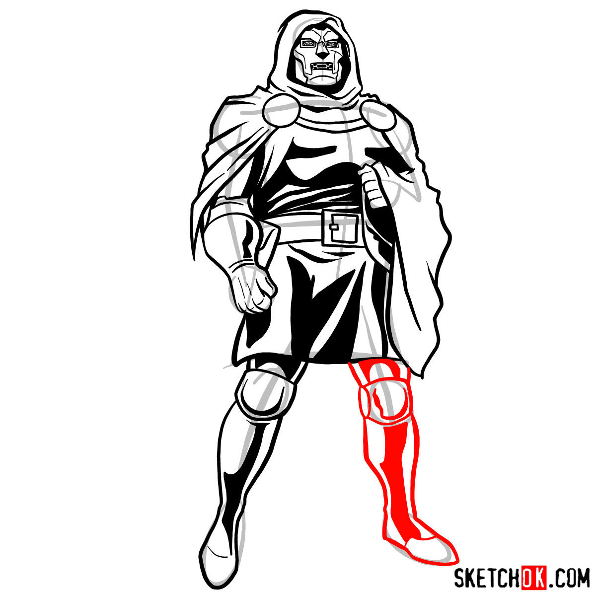 How to draw Doctor Doom, Marvel's supervillian - step 12
