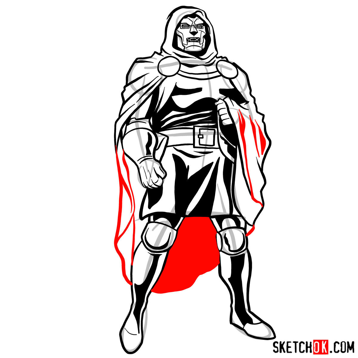 How to draw Doctor Doom, Marvel's supervillian - step 13