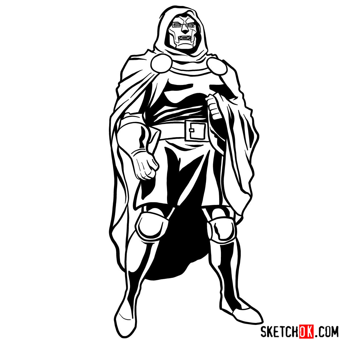 How to draw Doctor Doom, Marvel's supervillian - step 14