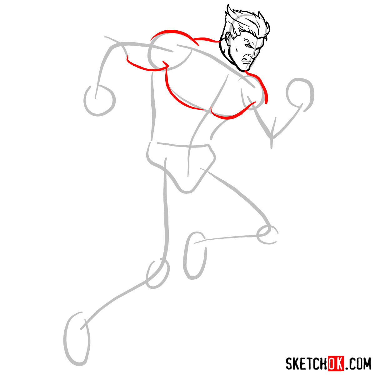 How to draw Quicksilver from Marvel Comics - step 05