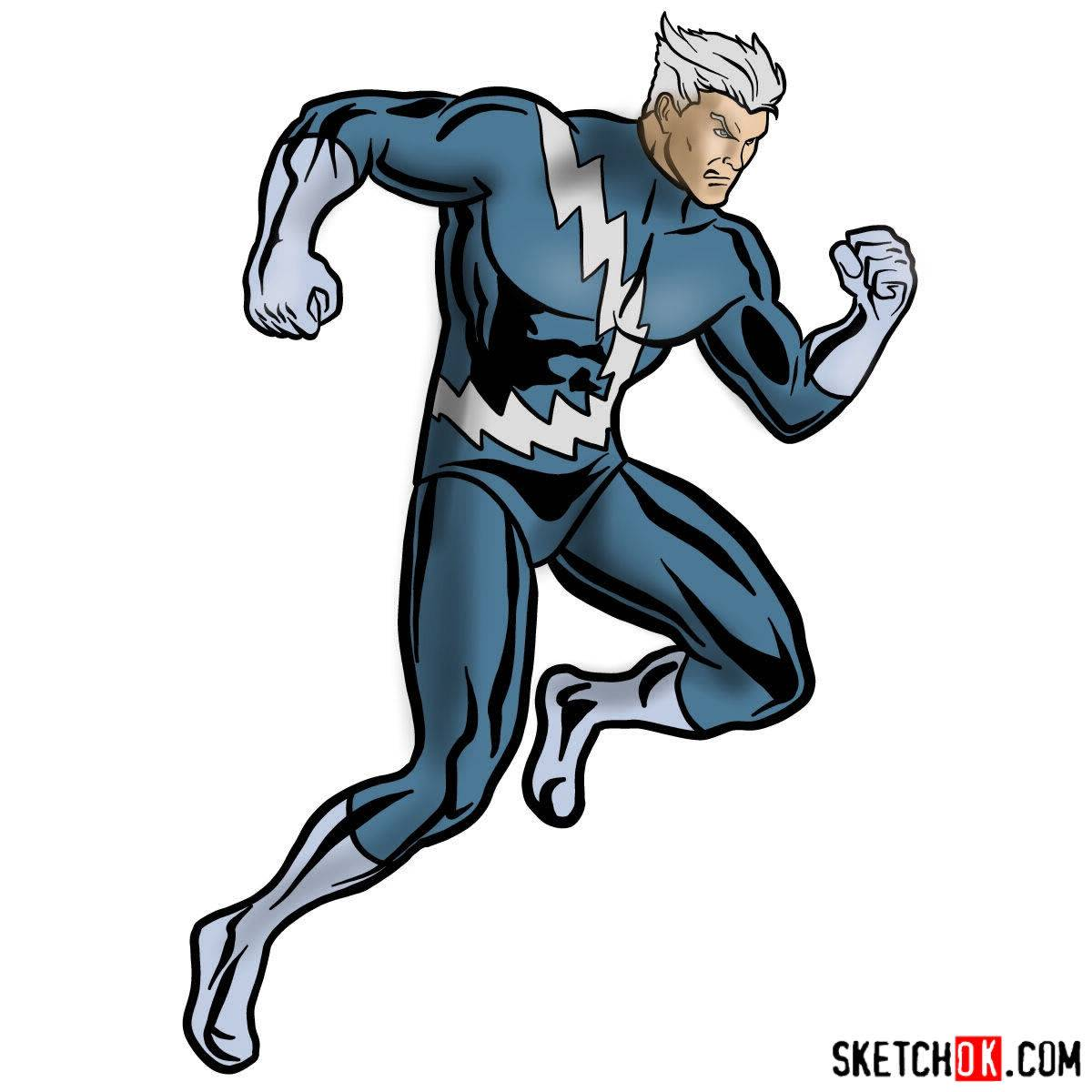 How to draw Quicksilver from Marvel Comics