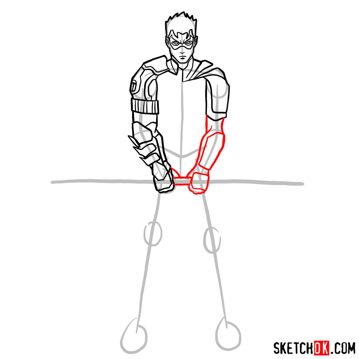 How to draw Robin from DC Comics - step 07