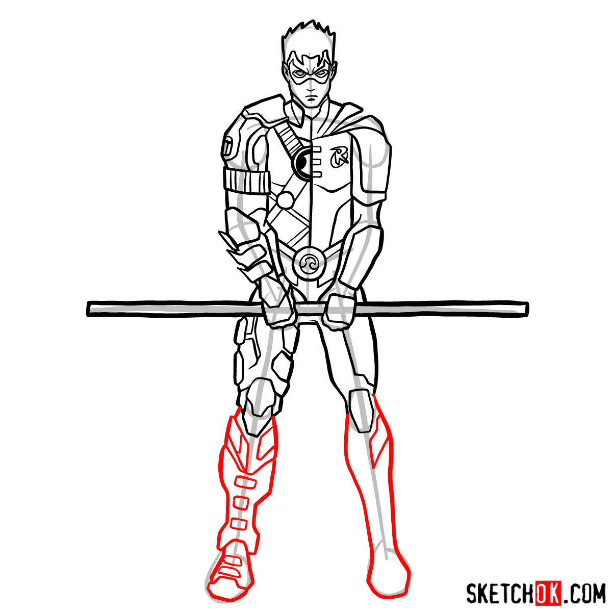 How to draw Robin from DC Comics - step 12