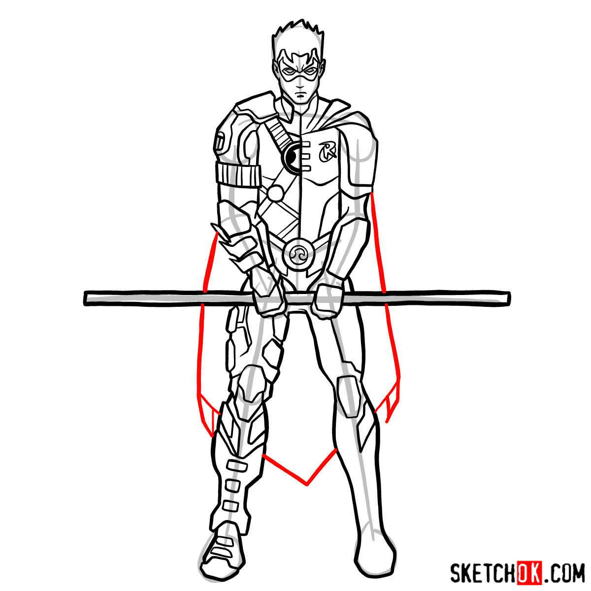 How to draw Robin from DC Comics - step 13