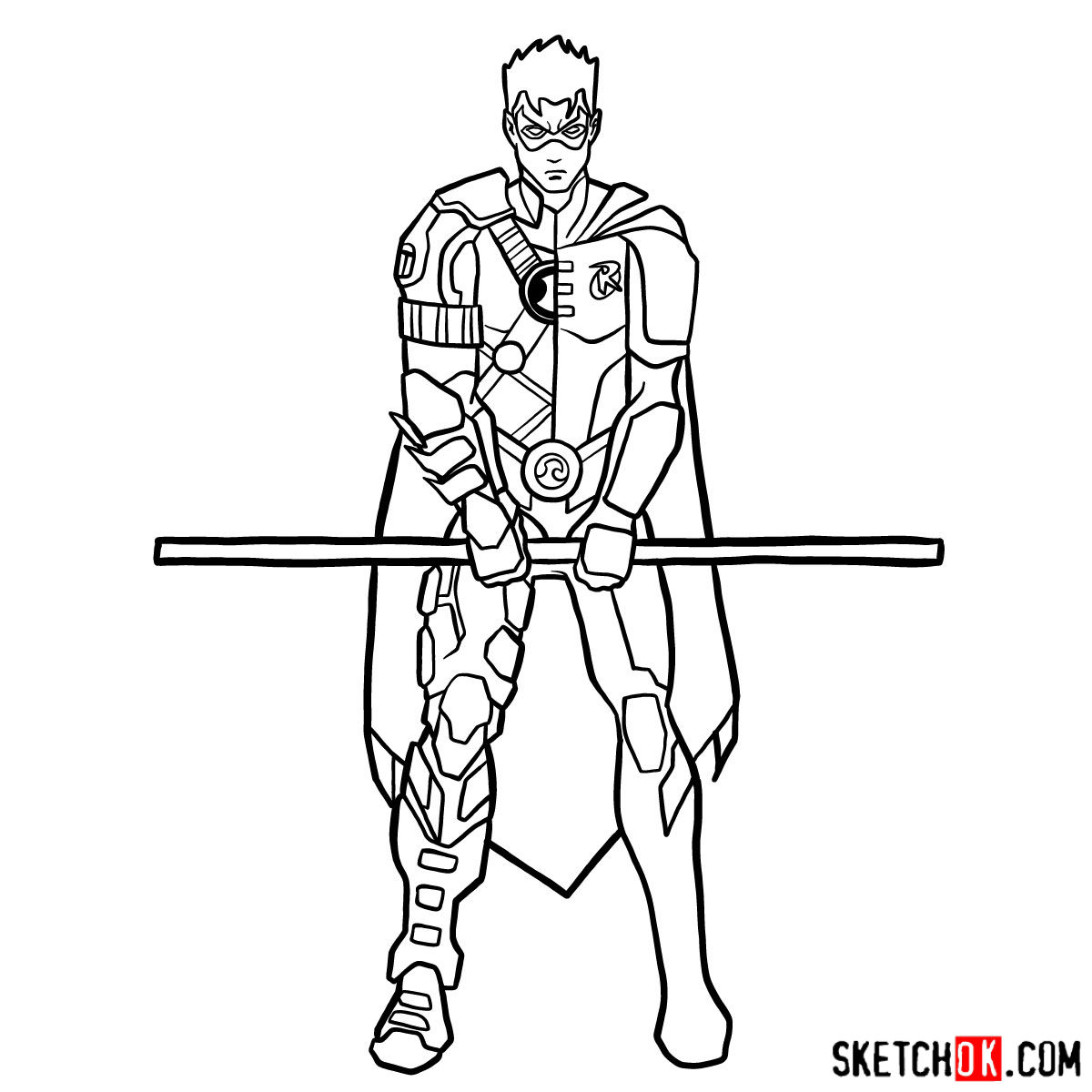 How to draw Robin from DC Comics - step 14