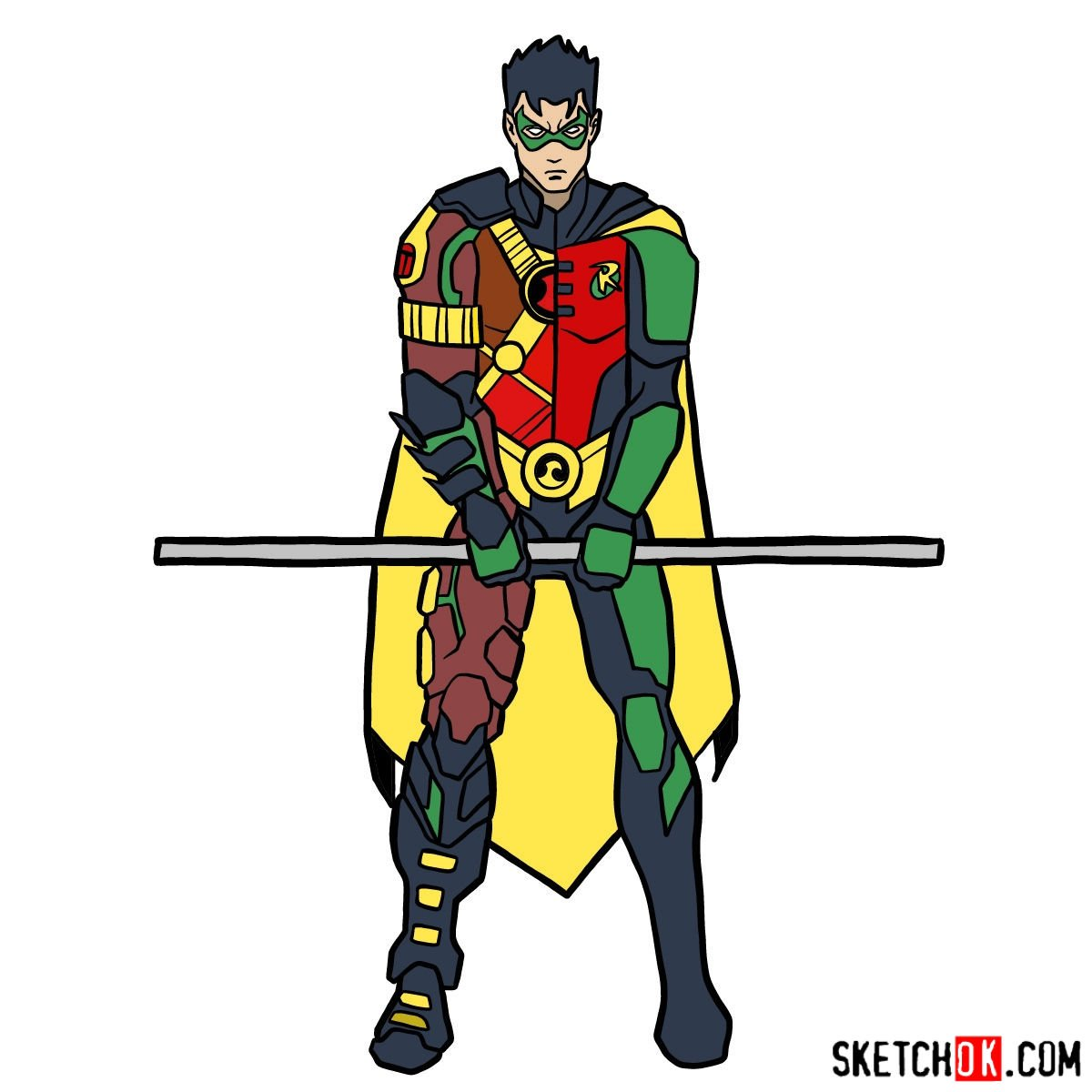 How to draw Robin from DC Comics - coloring