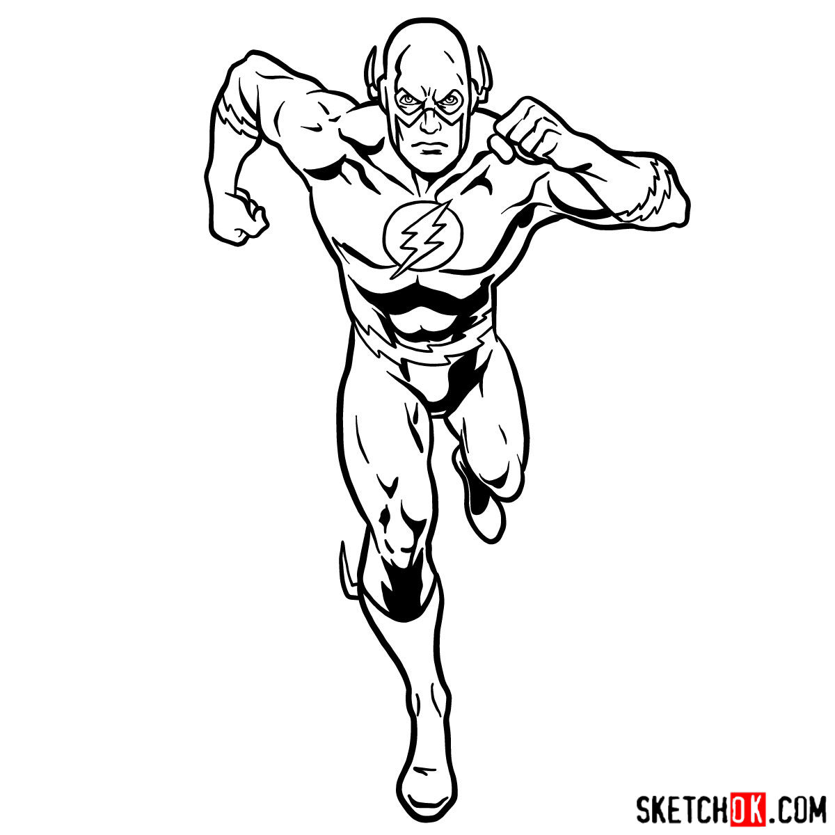 How to draw Flash (Barry Allen) - step 12