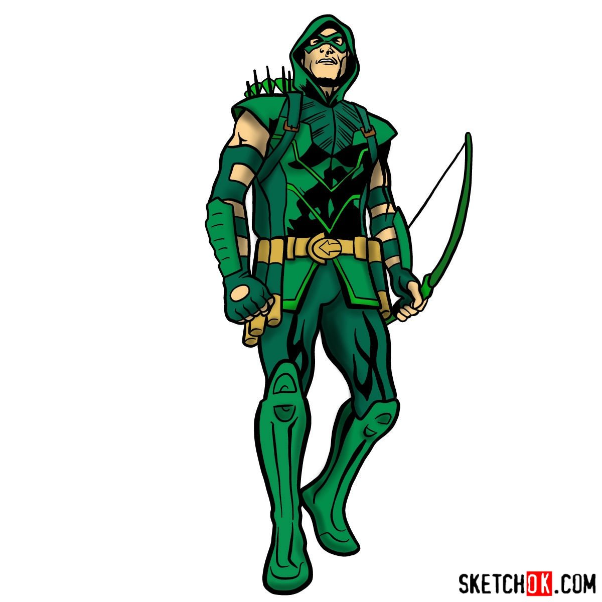How to draw Green Arrow in full growth