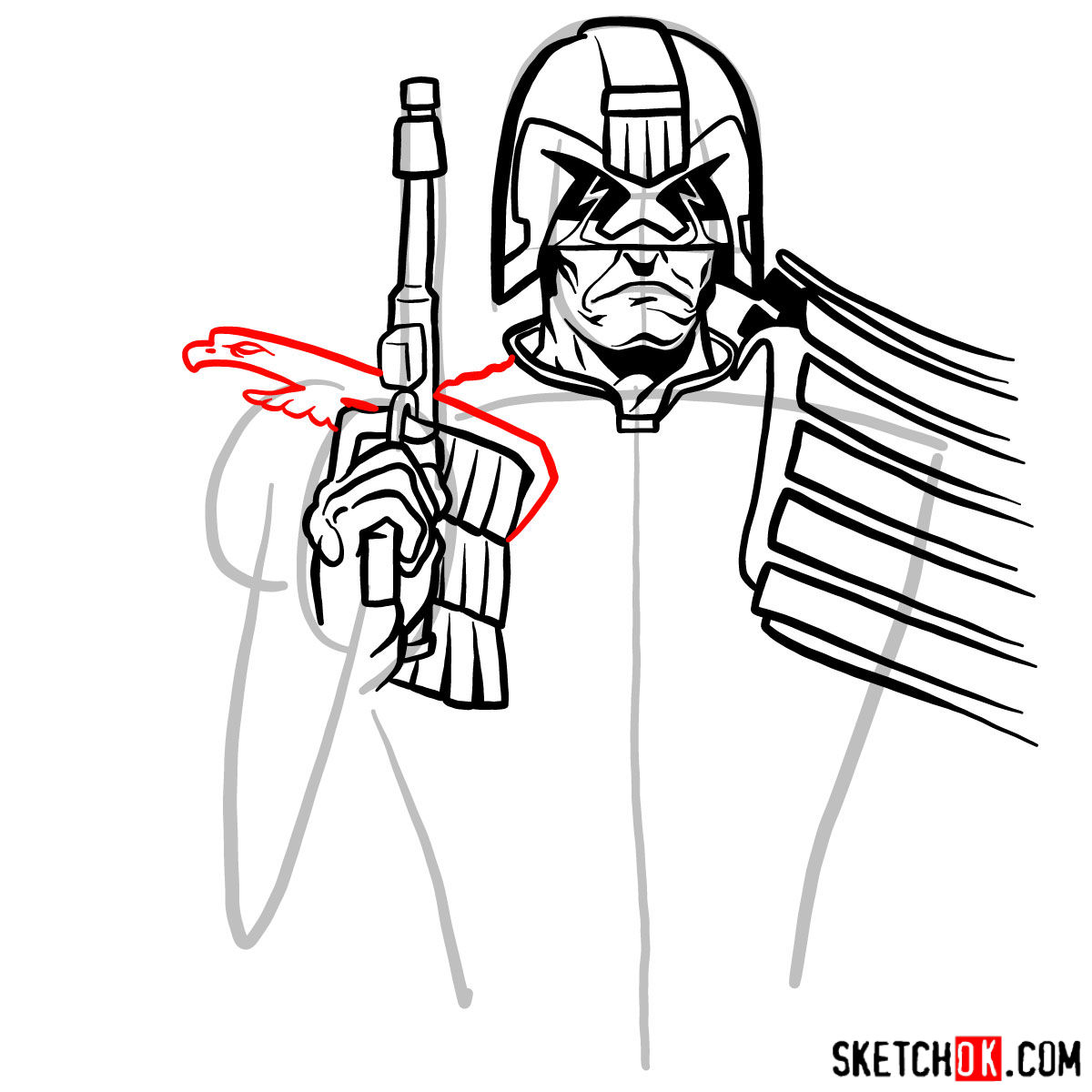 How to draw Judge Dredd to the waist - step 08
