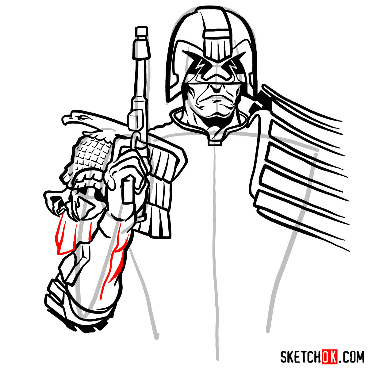 How to draw Judge Dredd to the waist - step 11
