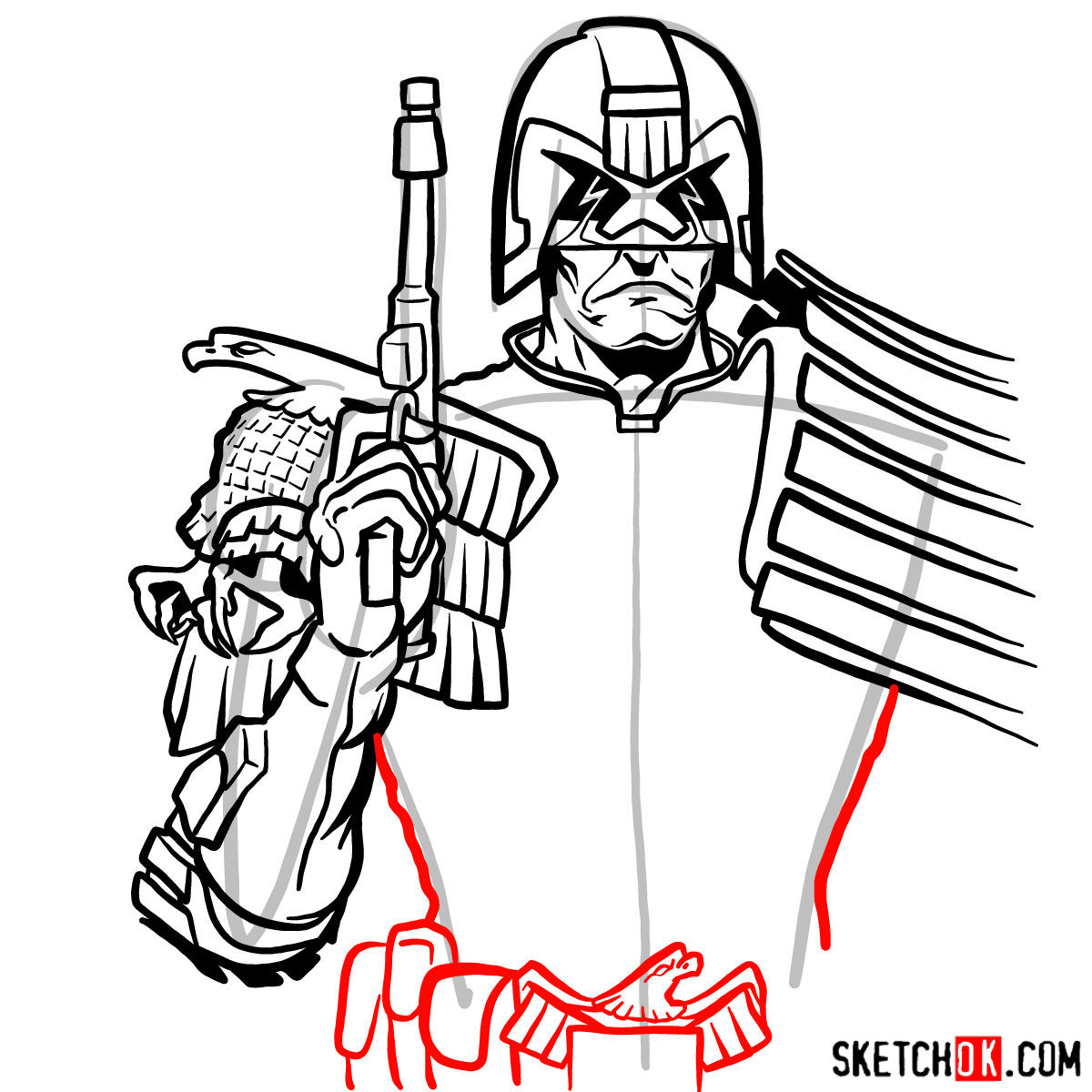 How to draw Judge Dredd to the waist - step 12