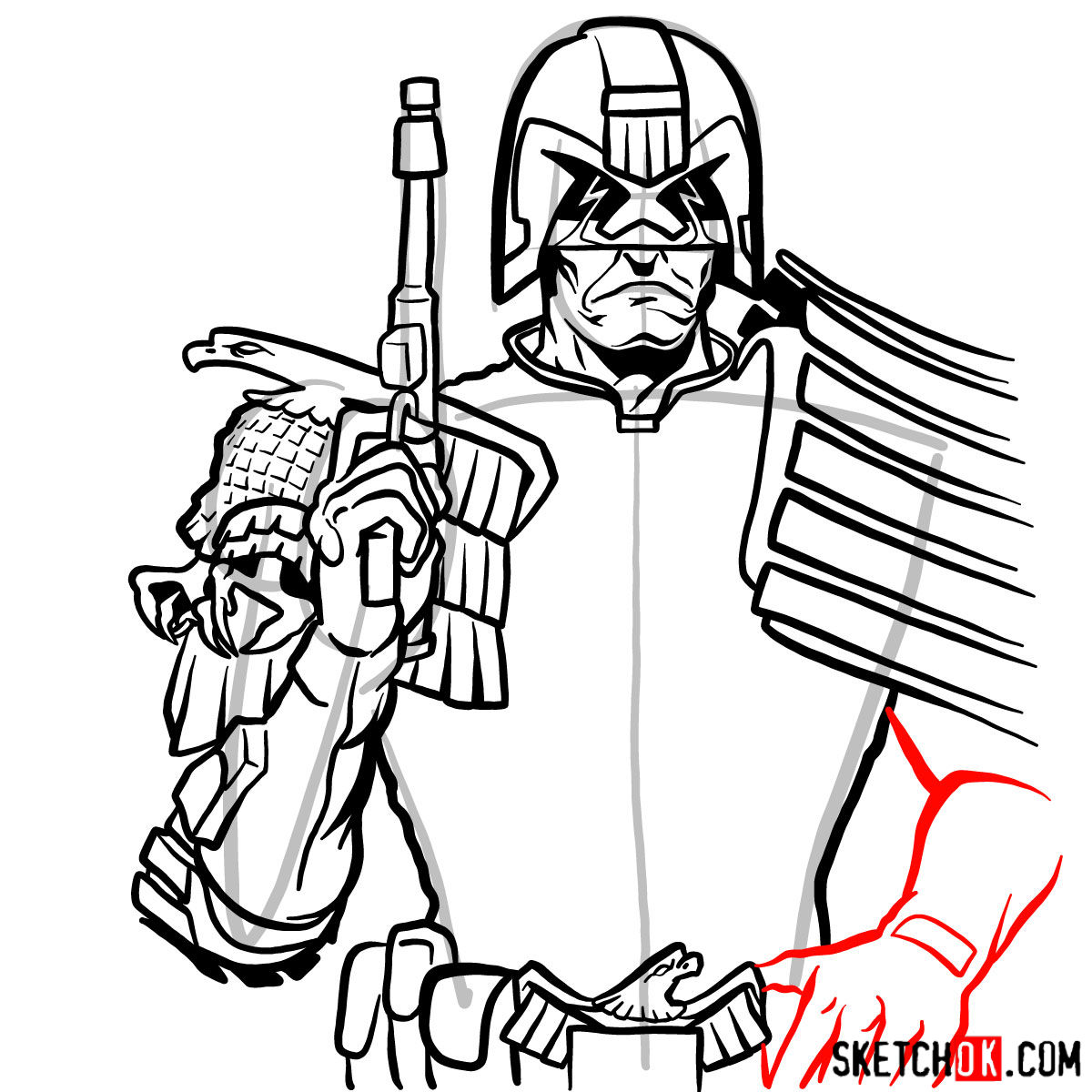 How to draw Judge Dredd to the waist - step 13
