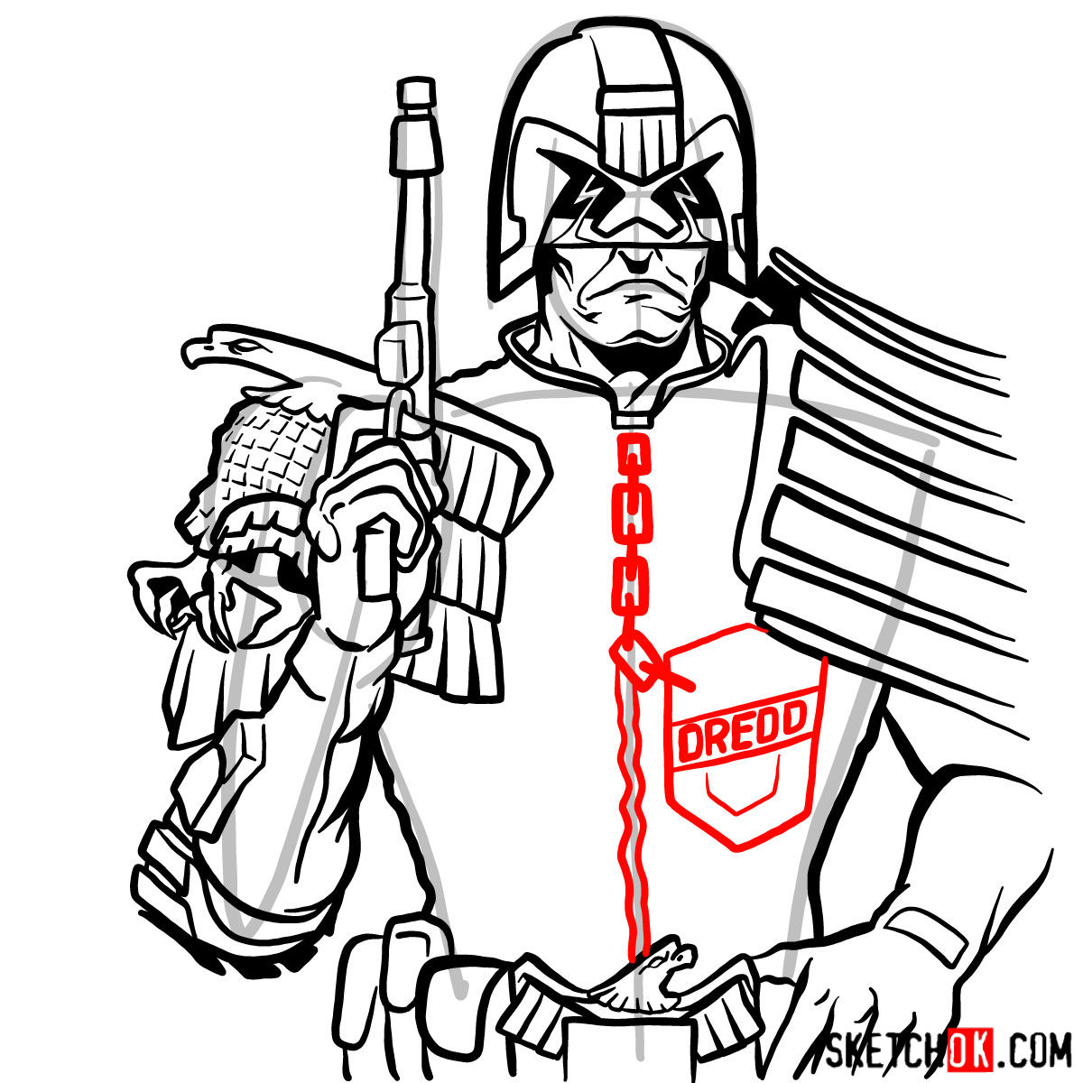 How to draw Judge Dredd to the waist - step 14