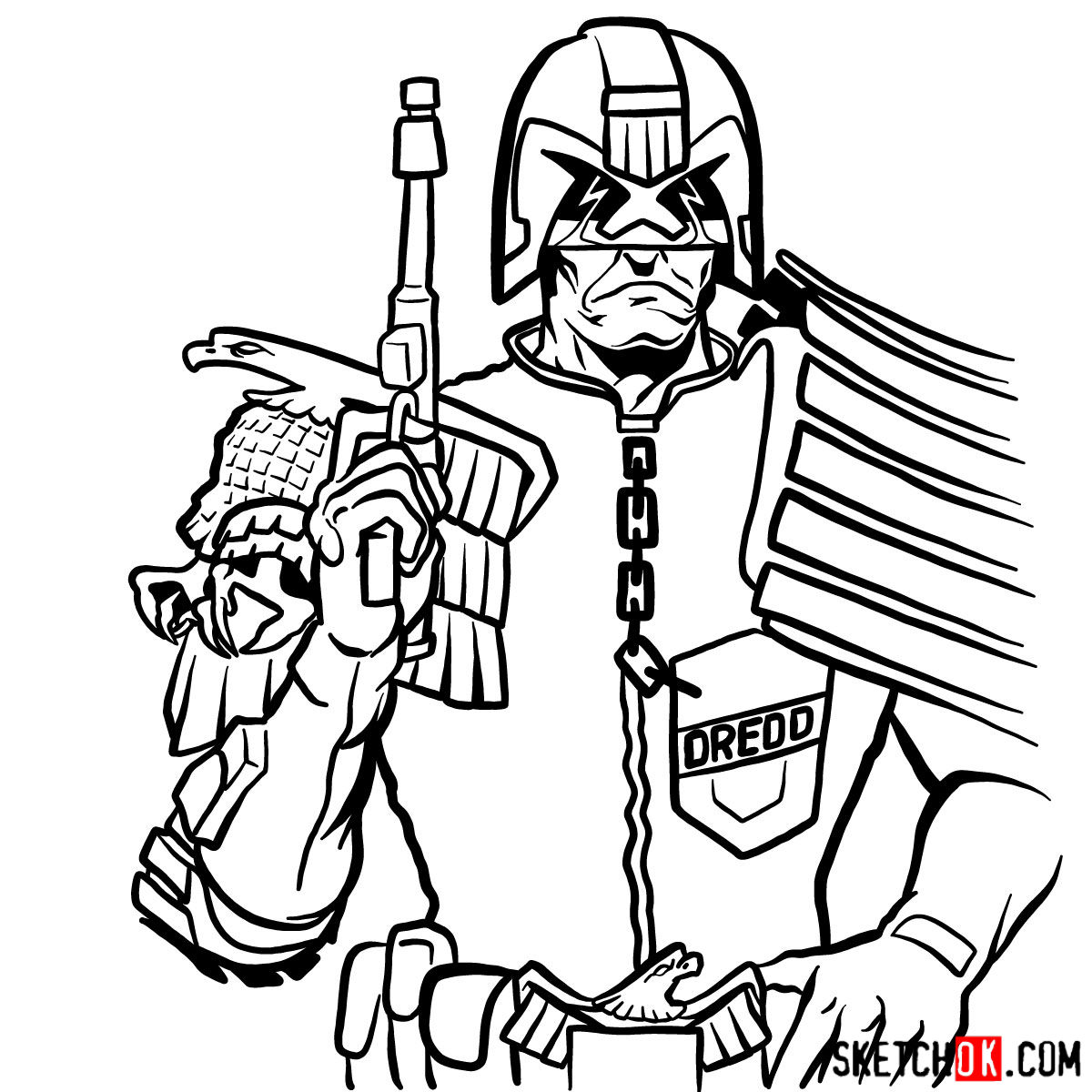 How to draw Judge Dredd to the waist - step 15