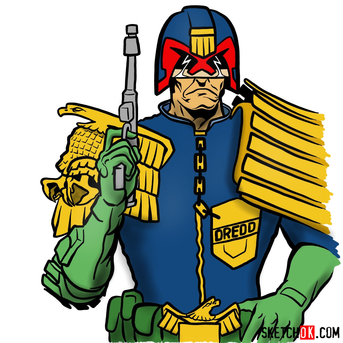 How to draw Judge Dredd to the waist - coloring