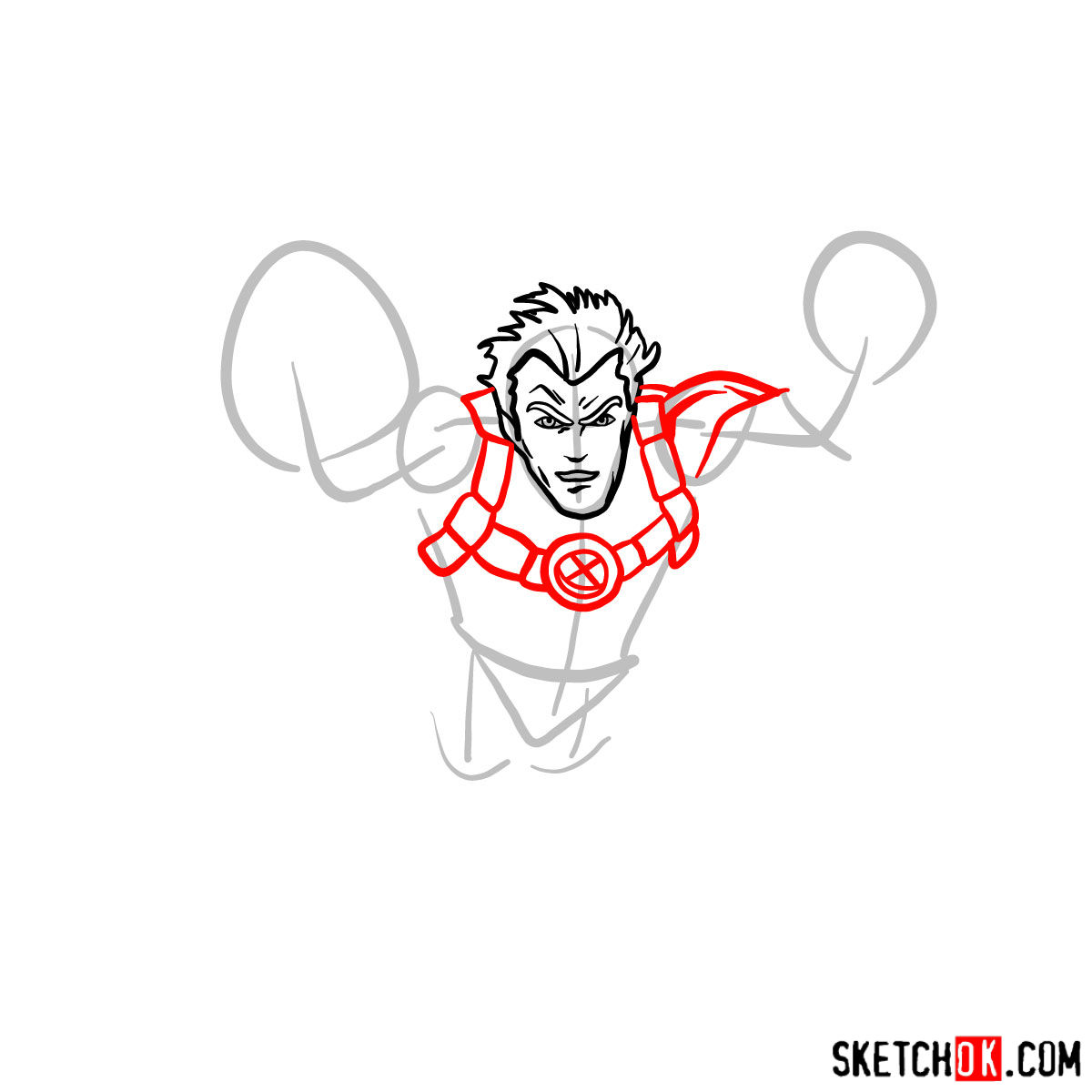 How to draw Cannonball, a mutant from X-Men series - step 04