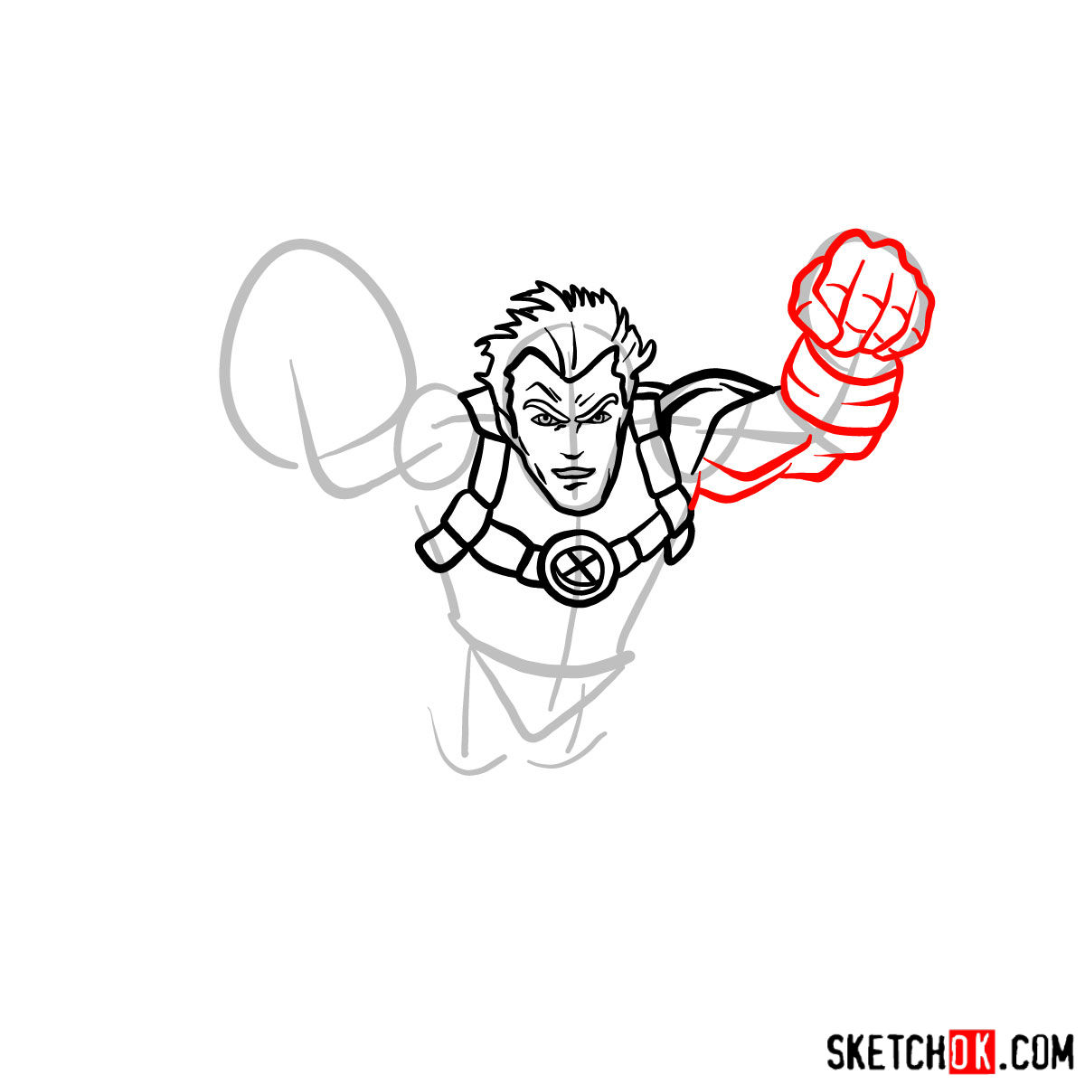 How to draw Cannonball, a mutant from X-Men series - step 05