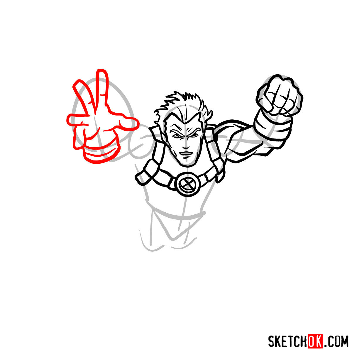 How to draw Cannonball, a mutant from X-Men series - step 06