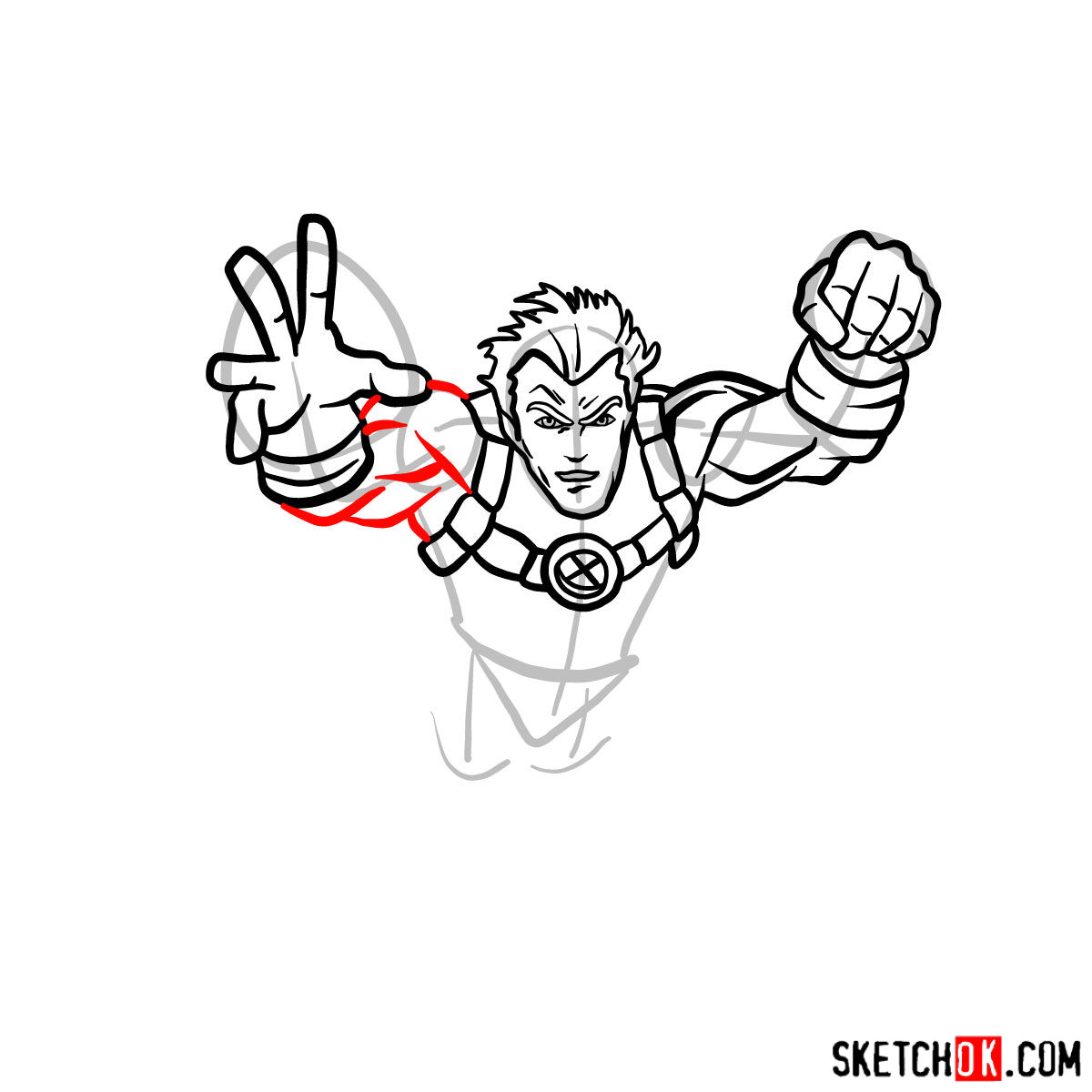 How to draw Cannonball, a mutant from X-Men series - step 07