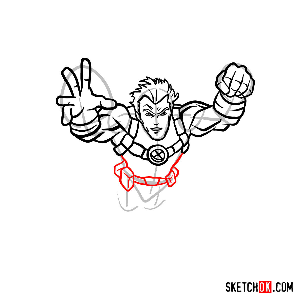 How to draw Cannonball, a mutant from X-Men series - step 08