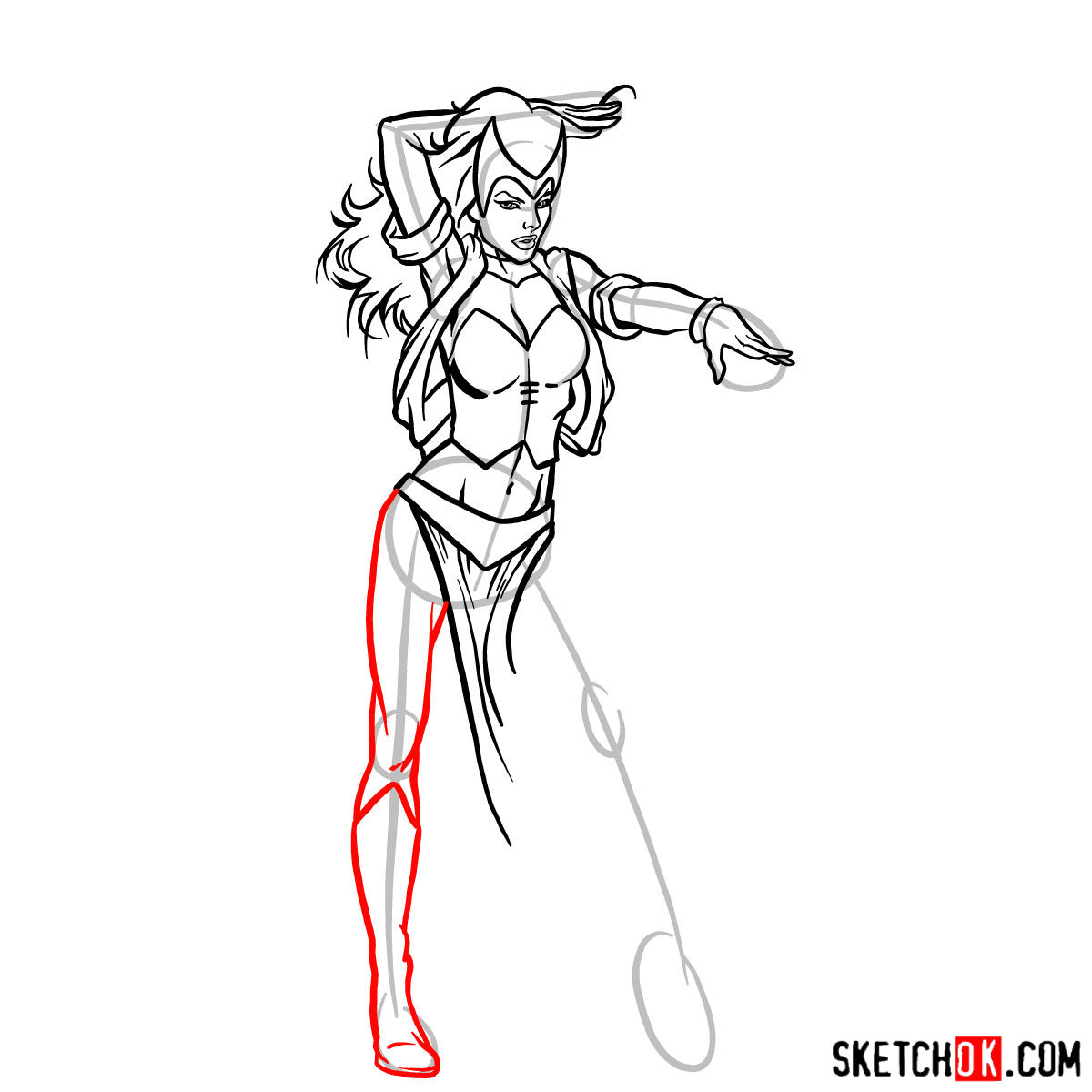 How to draw Scarlet Witch from Marvel Comics - step 11