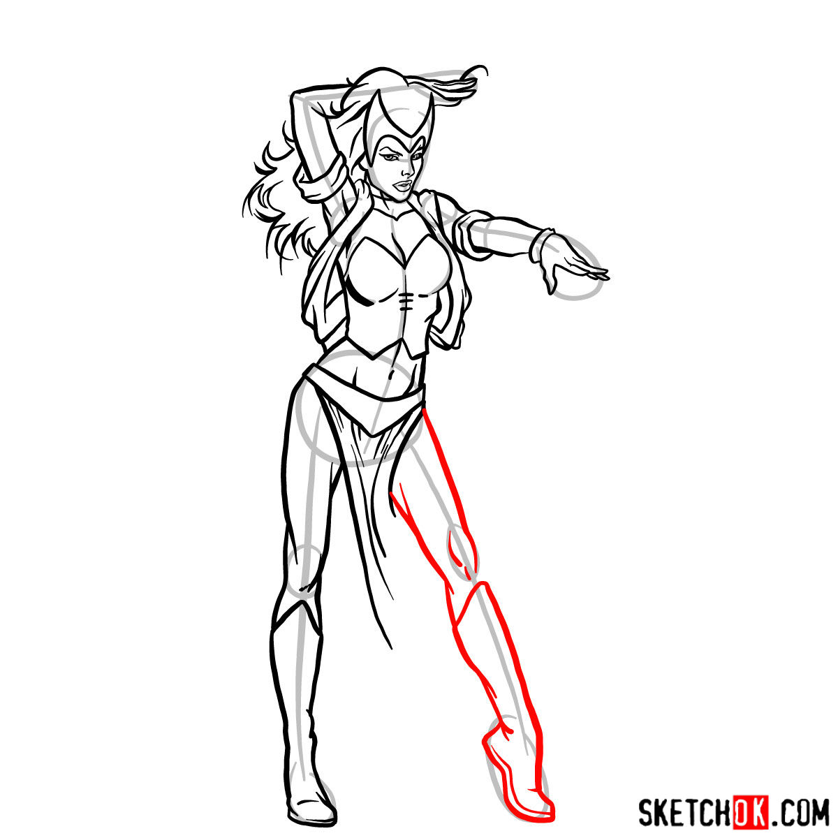 How to draw Scarlet Witch from Marvel Comics - step 12