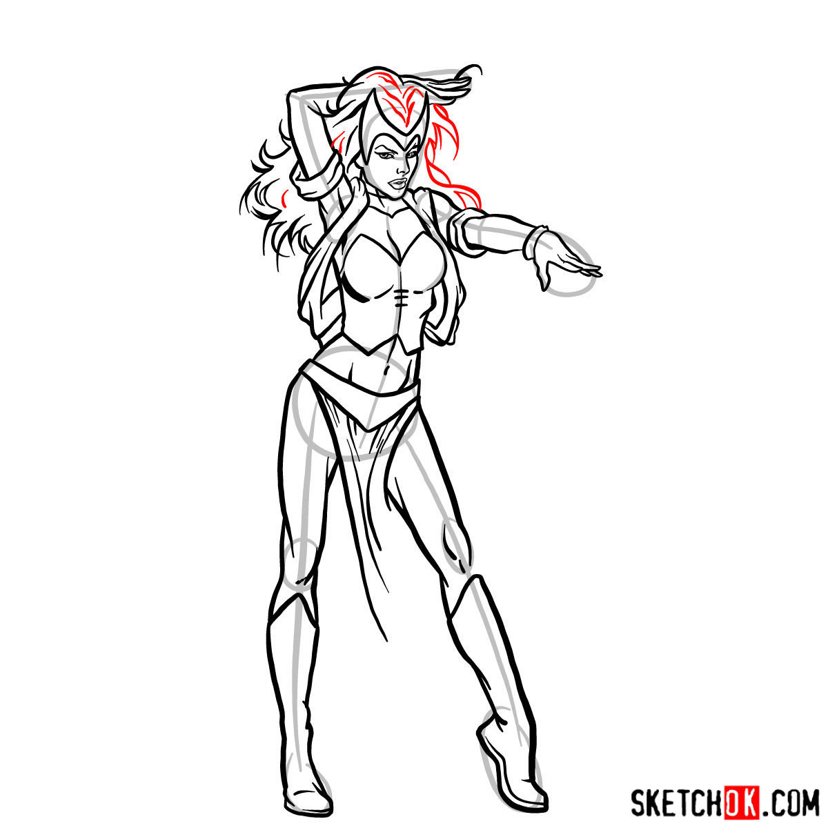 How to draw Scarlet Witch from Marvel Comics - step 13
