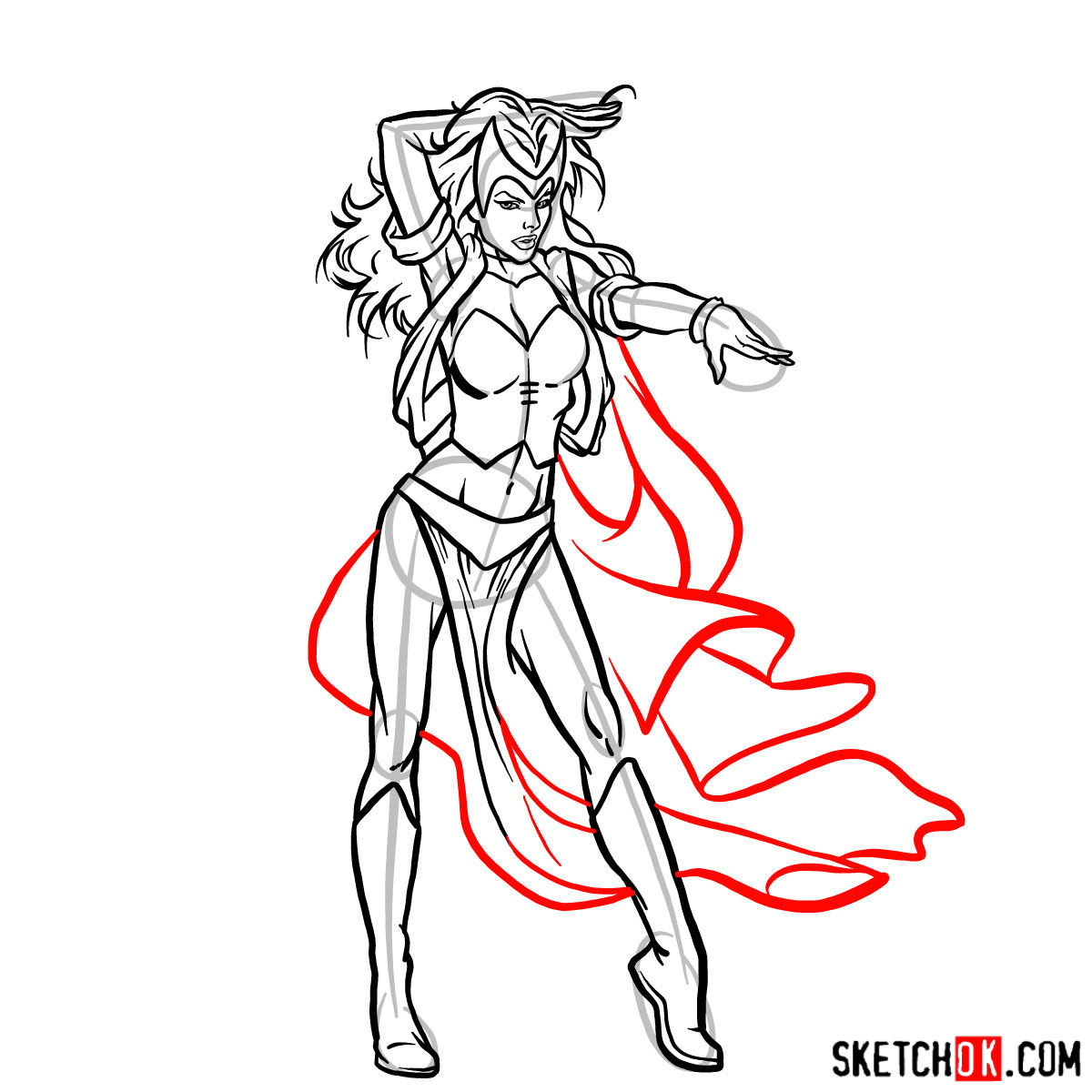 How to draw Scarlet Witch from Marvel Comics - step 14