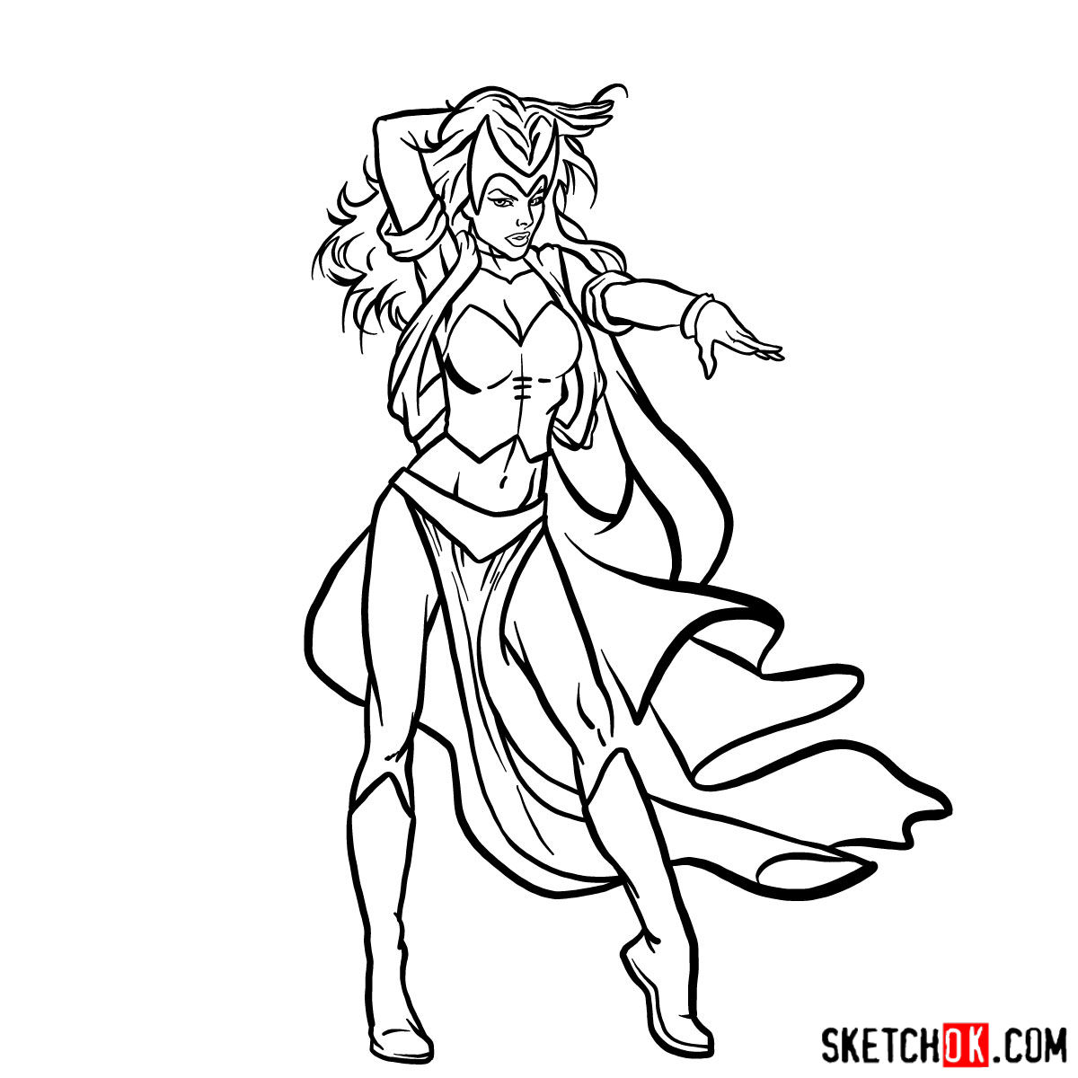 How to draw Scarlet Witch from Marvel Comics - step 15